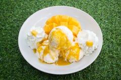 Gelato alla vaniglia con i manghi freschi tailandesi immagini stock