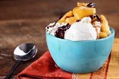 Gelato alla vaniglia con le patatine fritte del mirtillo rosso di Apple fotografie stock libere da diritti