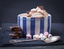 Gelato casalingo del cioccolato e della vaniglia con la caramella gommosa e molle, servire Immagine Stock Libera da Diritti