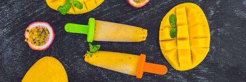 Gelato casalingo dell'INSEGNA dal mango e dal frutto della passione Formato lungo del ghiacciolo immagini stock libere da diritti