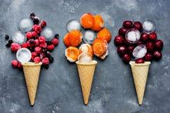 Gelato della ciliegia, gelato della bacca, gelato dell'albicocca - arte dell'alimento Fotografia Stock Libera da Diritti