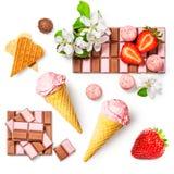 Gelato e cioccolato della fragola Fotografia Stock