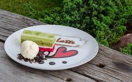 Gelato e torta Fotografie Stock