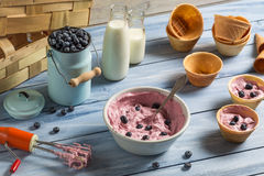 Gelato fatto con yogurt misto ed i mirtilli Fotografia Stock Libera da Diritti