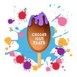 Gelato Lolly Colorful Dessert Icon Choose il vostro manifesto del caffè di gusto royalty illustrazione gratis