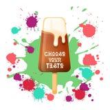 Gelato Lolly Colorful Dessert Icon Choose il vostro manifesto del caffè di gusto illustrazione vettoriale