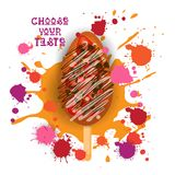 Gelato Lolly Colorful Dessert Icon Choose il vostro manifesto del caffè di gusto illustrazione di stock