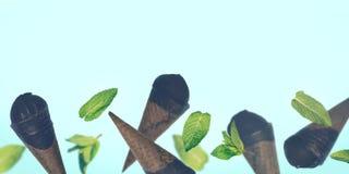 Gelato nero nei coni della cialda su fondo pastello Immagine Stock