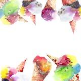 Gelato squisito del dessert di estate del bello cioccolato saporito delizioso luminoso nel telaio sveglio del corno della cialda illustrazione vettoriale