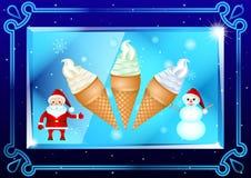 Gelato in tazze, Santa Claus e pupazzo di neve della cialda nel bello telaio, su un piatto trasparente, prisma su un fondo blu sc illustrazione di stock
