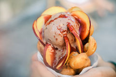 Gelato variopinto saporito con i frutti in mani Fotografia Stock