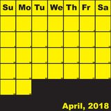 Gelb April-2018 auf schwarzem Planerkalender Stockfotos