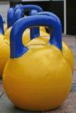 Gelb-blaue Gewichte für Sport Lizenzfreie Stockfotos