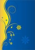 Gelb-Blauer mit Blumenhintergrund Stockfotografie