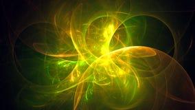 Gelb 3D Fractal-Lichthintergründe Stockfoto