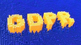 Gelb der allgemeine Daten-Schutz-Regelung GDPR spielt das Glühen die Hauptrolle Stockbild