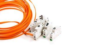 Gelb der elektrischen Leitung lizenzfreie stockbilder