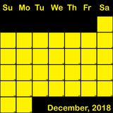 Gelb Dezember-2018 auf dem schwarzen Planerkalender groß Lizenzfreie Stockfotos
