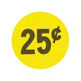 Gelb fünfundzwanzig-Cent-Ramschverkaufaufkleber stockbilder