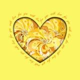 Gelb gemaltes Pfaufeder-Herzdesign Grunge Papierhintergrund Stockfotografie