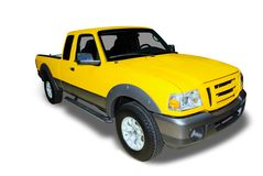 Gelb heben Sie LKW auf Stockfotos