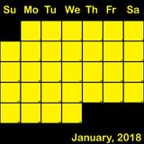 Gelb Januar-2018 auf dem schwarzen Planerkalender groß Lizenzfreies Stockbild