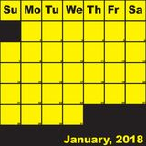 Gelb Januar-2018 auf schwarzem Planerkalender Lizenzfreie Stockbilder