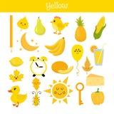 gelb Lernen Sie die Farbe Bildungssatz Illustration von Primär Lizenzfreie Stockfotografie