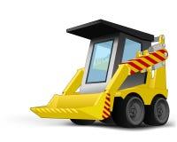 Gelb lokalisierter Baggerfahrzeug-Zeichnungsvektor Stockfoto