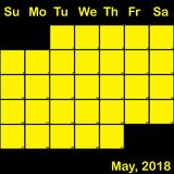 Gelb Mai-2018 auf dem schwarzen Planerkalender groß Lizenzfreie Stockfotos