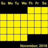 Gelb November-2018 auf dem schwarzen Planerkalender groß Lizenzfreies Stockbild