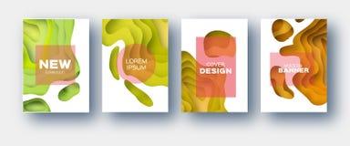 Gelb-orangee Papier-Schnitt-Wellen-Formen Überlagerter Kurve Origami entwirft für Geschäftsdarstellungen, Flieger, Poster Satz vo stock abbildung
