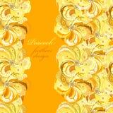 Gelb-orangeer Pfau versieht Musterhintergrund mit Federn Textplatz Stockfotos