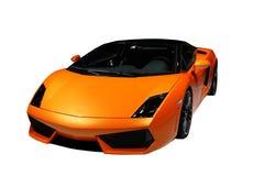 Gelb-orangeer Sportwagen getrennt Stockfotografie