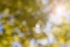 Gelb unscharfer Hintergrund mit Blendenfleck Stockbild