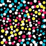 Gelb-Weiß-Rosa-blauer Dots Background stock abbildung