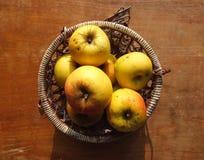 Gelbe Äpfel im Weidenkorb Stockbilder