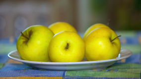 gelbe Äpfel liegen auf einer Platte, die auf dem Tisch ist stock video footage