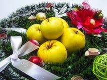 Gelbe Äpfel und Weihnachtsdekorativer Kranz Stockbilder