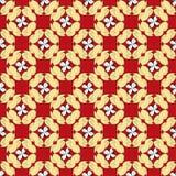 Gelbe abstrakte Blumenblumenblätter auf einem nahtlosen Vektormuster des roten Hintergrundes Stockbild