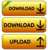 Gelbe Antriebskraft-/Downloadknöpfe Lizenzfreie Stockfotografie