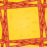 Gelbe Bänder herum mit rotem Beschriftungsverkauf und -streifen, die Verkaufsplatz auf einem roten Hintergrund mit Zahl anzeigen  lizenzfreie abbildung