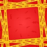 Gelbe Bänder herum mit rotem Beschriftungsverkauf und -streifen, die Verkaufsplatz auf einem roten Hintergrund mit Zahl anzeigen  stock abbildung