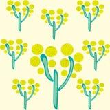 Gelbe Bäume auf gelber Hintergrund Park-Sommersymmetrie vektor abbildung