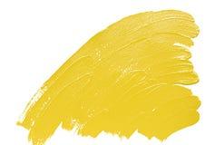 Gelbe Bürste streicht Acrylhintergrund Stockbilder
