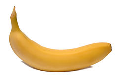 Gelbe Banane auf weißem Hintergrund Lizenzfreie Stockbilder