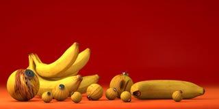 Gelbe Banane mit Spielzeugdekoration lizenzfreie abbildung