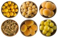Gelbe Beeren lokalisiert auf weißem Hintergrund Weiße Johannisbeeren, gelbe Himbeeren, Aprikosen, gelbe Pflaumen und dired Apriko Stockfotos