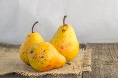 Gelbe Birne auf einem rustikalen Hintergrund Stockbilder