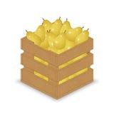 Gelbe Birnen in der hölzernen Kiste Vektor Abbildung